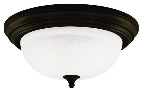 One-Light Indoor Flush-Mount Ceiling Fixture, Oil Rubbed Bronze Finish with Frosted White Alabaster Glass