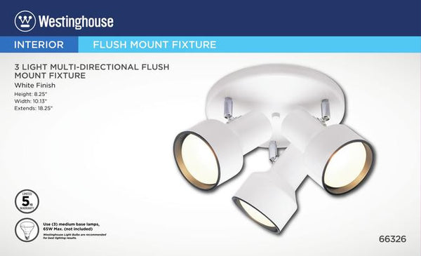 Three-Light Indoor Multi-Directional Flush-Mount Ceiling Fixture, White Finish - Lighting Getz