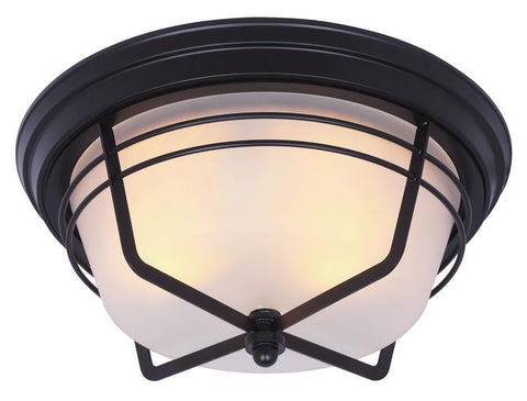 Bonneville Two-Light Outdoor Flush Fixture, Weathered Bronze Finish on Steel with Frosted Glass