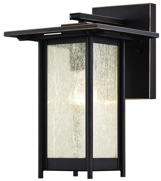 Clarissa One-Light Outdoor Wall Lantern, Oil Rubbed Bronze Finish with Highlights on Steel and Clear Seeded Glass - Lighting Getz