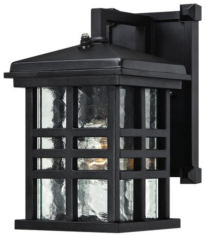 Caliste One-Light Outdoor Wall Lantern with Dusk to Dawn Sensor, Textured Black Finish on Aluminum with Clear Water Glass