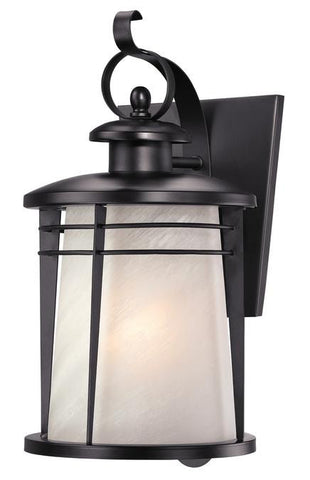 Copy of Senecaville One-Light Outdoor Wall Lantern, Weathered Bronze Finish on Steel with White Alabaster Glass