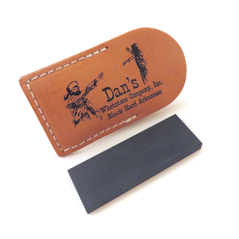 "Genuine Arkansas Black Surgical (Ultra Fine) Pocket Knife Sharpening Stone Whetstone 3"" X 1"" X 1/4"" in Leather Pouch Bap-13A-L"