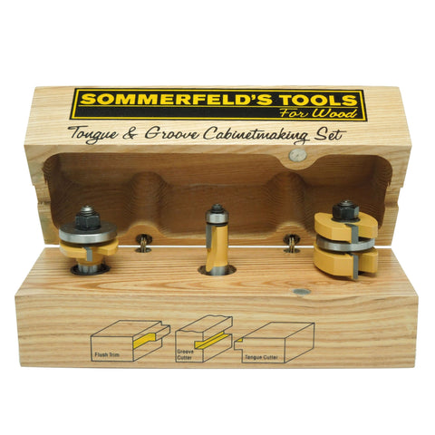 Sommerfeld's 3 Piece Tongue & Groove Cabinetmaking Set, 1/2-Inch Shank