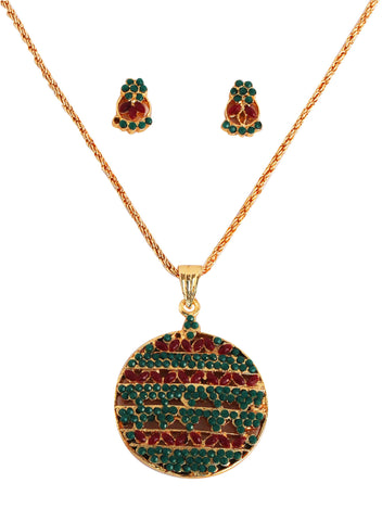 Touchstone Maroon & Green Round Pendant Set- BBPSG089-01RE-Y