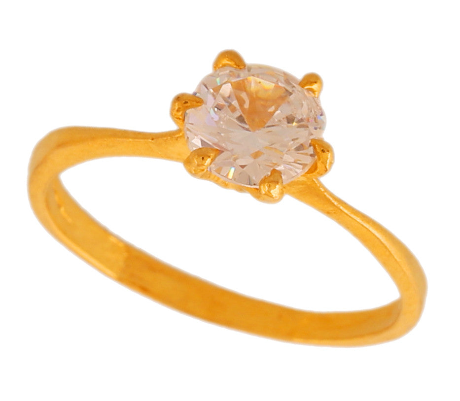 Touchstone Pleasing Cz Gold & Rhodium Plated Finger Ring- BBR--208-01A--M