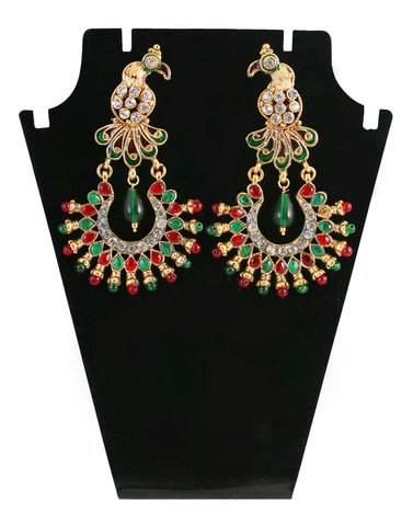 Touchstone Multicolour Austrian Diamond Hanging Earrings- DGETE118-01AREY