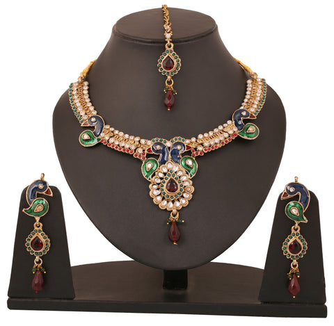 Touchstone Multi-Colour Gold Plated Mayur Necklace Set- DGNSE098-02AREY
