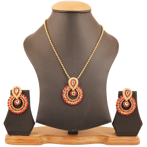 Elite Mughal Kundan Look Faux Ruby Chandbali Moon Pendant In Gold Tone-DGPS-570-05KR-Y