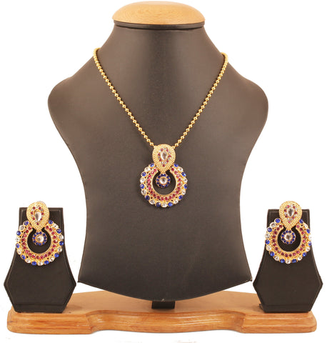 Elite Mughal Kundan Look Multi Color Chandbali Moon Pendant In Gold Tone-DGPS-570-06X--Y