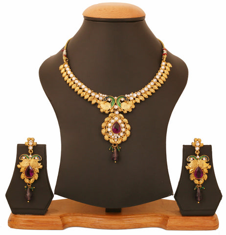Touchstone Antique Gold Lovely Peacock Necklace Set- FPNSE004-02AKMG