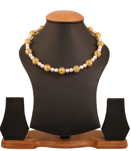 Touchstone Indian bollywood golden and faux pearls designer hasli necklace in gold tone for women GMNS-322-01---