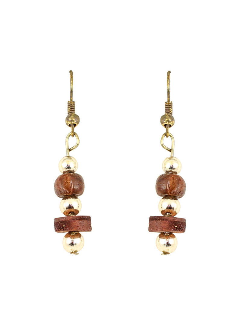 Touchstone Beautifully handcrafted wooden bead earrings- KRET-F42-01----