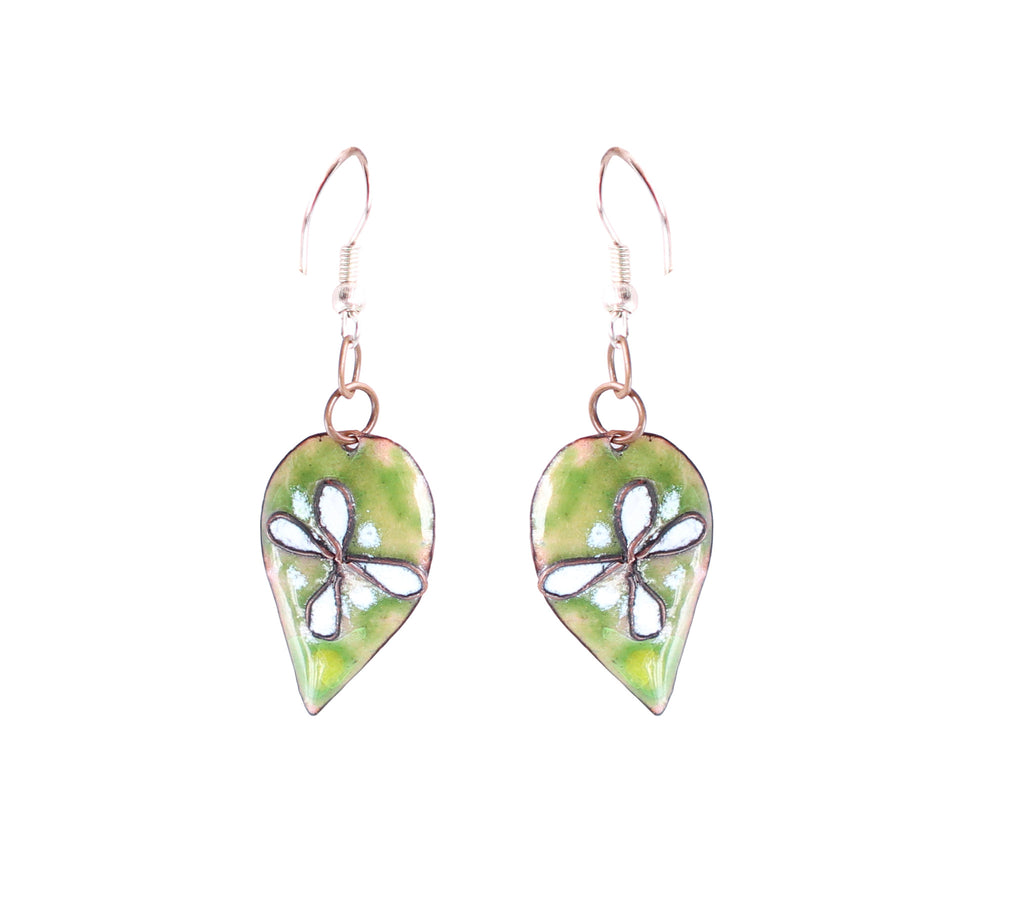 Touchstone Enamelled with light green coloured earrings which is leaf shape design- KRET-F71-01----