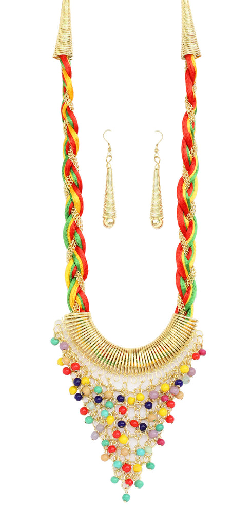 Touchstone Gold plated, handcrafted, multi colour very fascinating necklace set- KRNS-928-01---Z