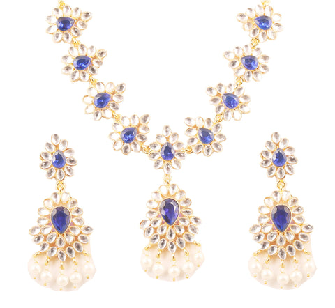 Contemporary Kundan Look Faux Blue Sapphire Pearls Necklace In Gold Tone-KSNSL112-01KW-Y