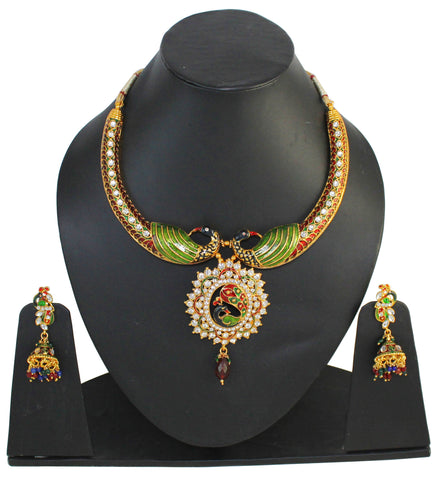 Touchstone Beautiful Multicoloured Austrian Diamonds Necklace Set- MENSE989-02A--Y