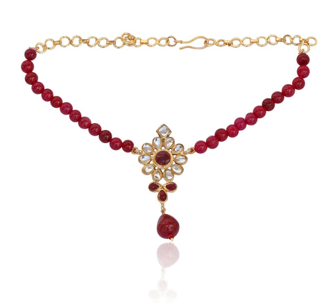 Kundan Look Faux Ruby Bajuband By Touchstone- PWBJL001-01KR-Y
