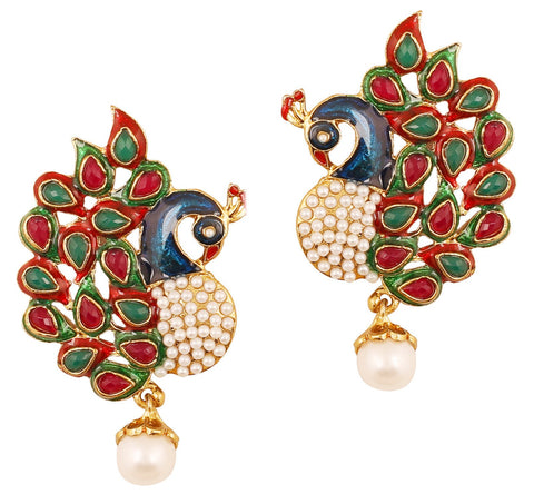 Touchstone Indian Bollywood ethnic peacock meenakari enamel red faux ruby green faux emerald and faux pearls long bridal chandelier designer jewelry earrings for women in antique  gold tone.