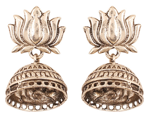Touchstone Indian Bollywood lotus theme long bridal chandelier designer jhumki earrings for women in silver oxidised  tone-PWETL365-01---R