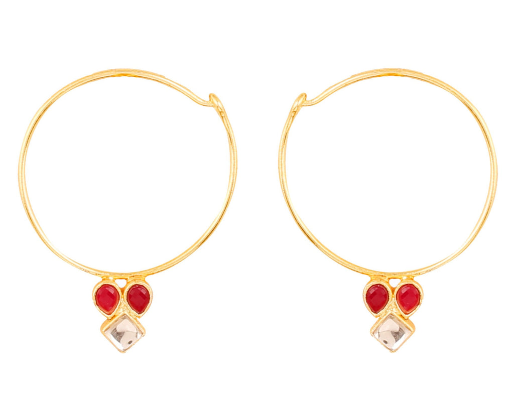 Touchstone Indian Bollywood traditional and modern thin wire hoop bali designer Kundan polki jewelry earrings  for women in gold tone.-PWETL387-01KR-Y