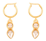 Touchstone Indian Bollywood Kundan Polki Look Long Designer Jewelry Bali Earrings For Women In Gold tone.-PWETL390-01K--Y