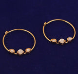 Touchstone Indian Bollywood traditional and modern thin wire hoop bali designer jewelry earrings embellished with Kundan polki stones for women in gold tone.-PWETL397-02K--Y