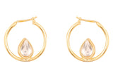 Touchstone Indian Bollywood Kundan Polki Look Hoop Bali Earrings For Women In Gold Tone.-PWETL400-02K--Y