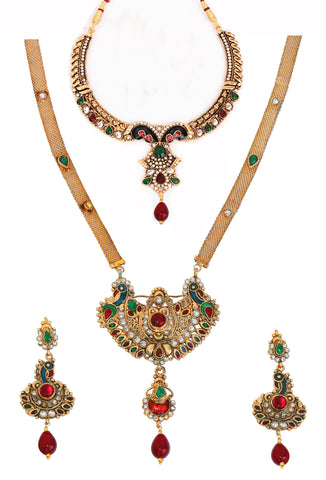 Touchstone Magnificent Mayur Design Necklace Set- PWNSL264-01X--Y