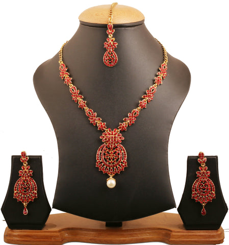 Floral Theme Red Rhinestones Bridal Necklace Set In Antique Gold Tone-PWNSL428-02R--G