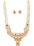 Legendary Mughal Jali Work Faux Ruby Necklace Set In Antique Gold Tone-PWNSL490-01KR-G