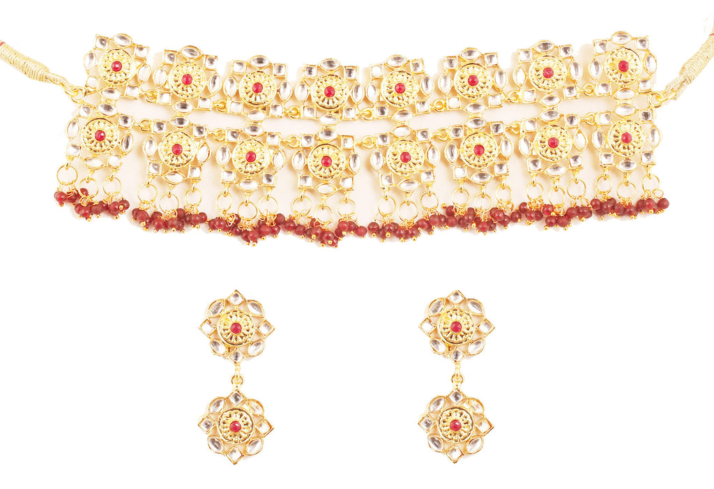Royal Mughal Faux Ruby Beads Choker Necklace Set In Antique Gold Tone-PWNSL526-01KR-G