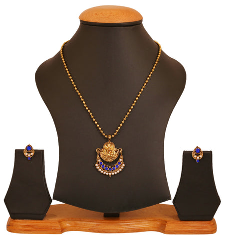 Touchstone antique golden plated Indian bollywood Deity white-blue colors jewelry pendant set for women