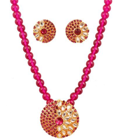 Touchstone golden plated Indian bollywood Kundan look fuchsia color jewelry pendant set for women