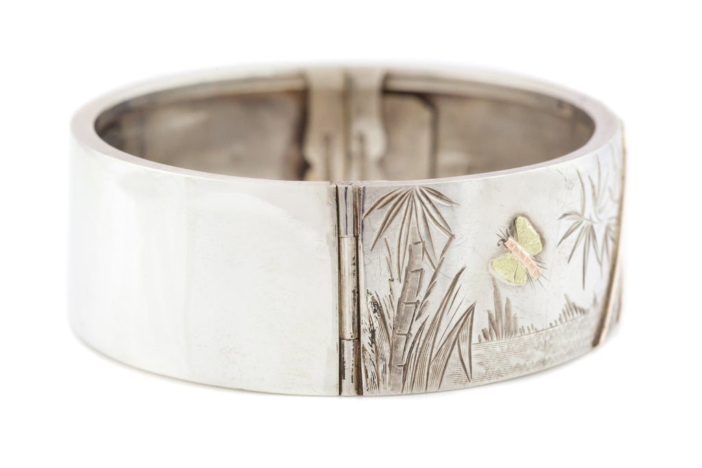 Silver Victorian Aesthetic Cuff Bangle with Rose and Yellow Gold Detail
