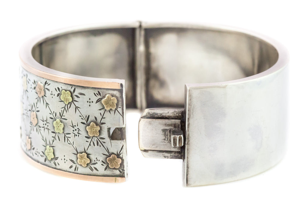 Charming Victorian Silver Bangle with Gold Flowers c.1880