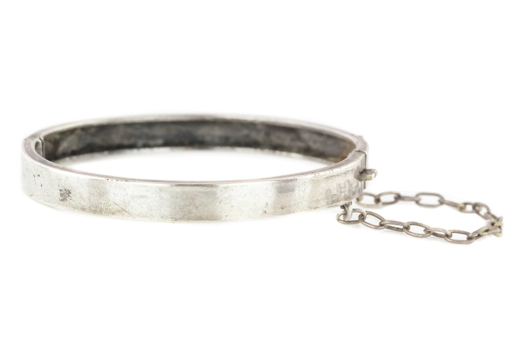 Antique French Silver Baby Bangle - Antique Christening Bangle c.1900