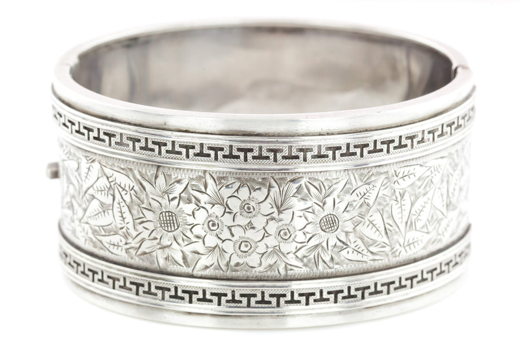 Victorian Sterling Silver Cuff Bangle with Flowers and a Geometric Border