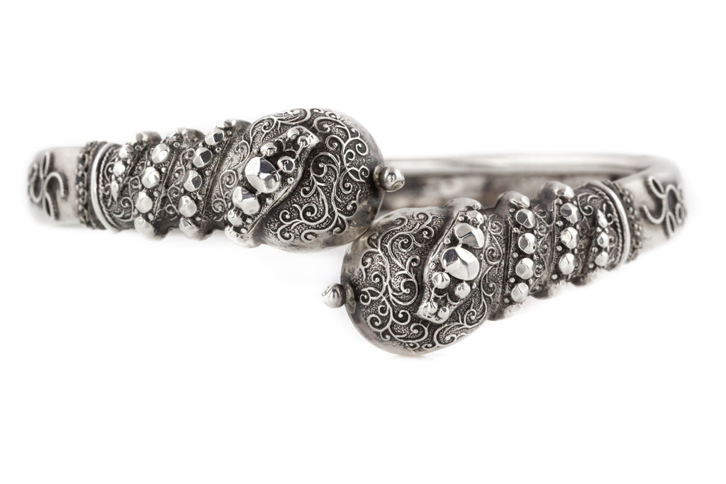 Antique Victorian Silver Bangle with Snake Motif c.1880