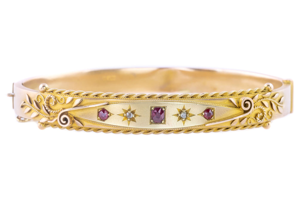 Edwardian 9ct Gold Ruby and Diamond Etruscan Style Bangle