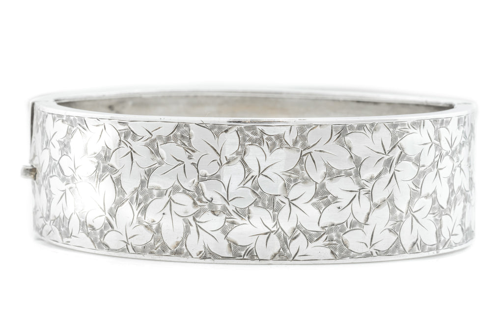 Victorian Silver Bangle with Ivy Leaves