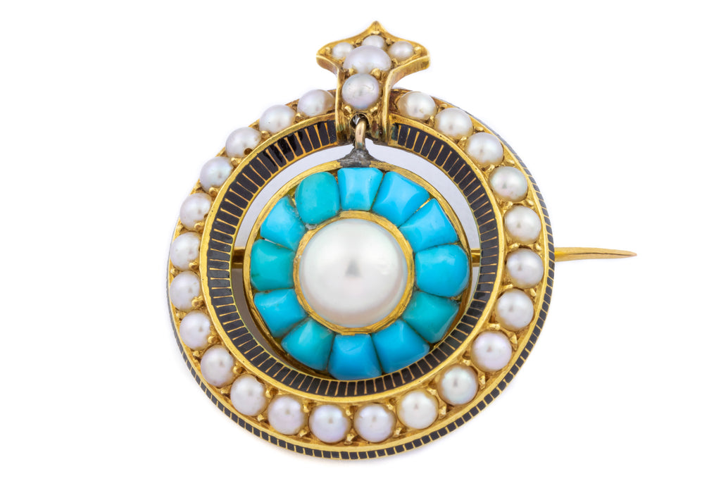 Stunning Victorian 18ct Gold Turquoise and Pearl Target Brooch