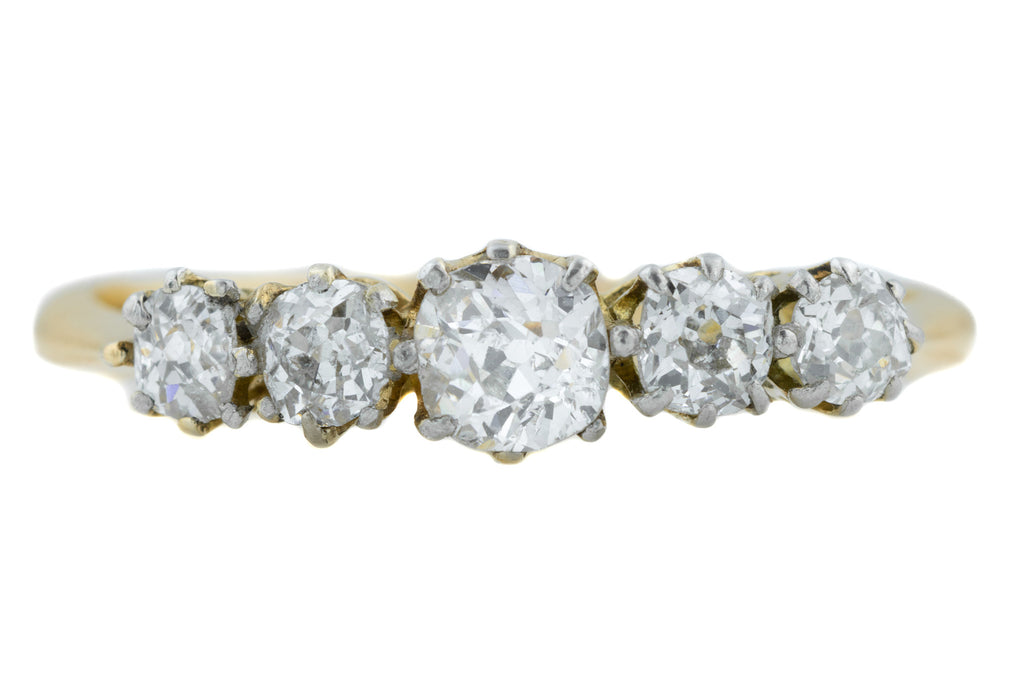 Antique 18ct Gold Five Stone Diamond Ring (0.95ct)