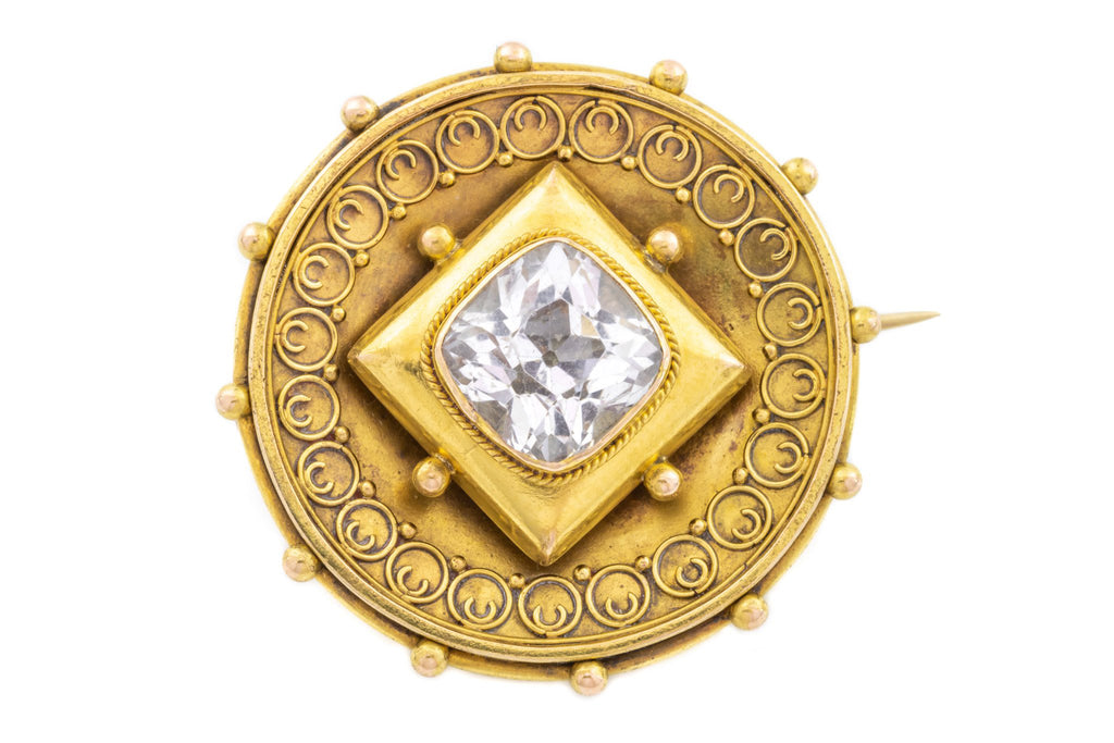 Antique 15ct Gold Rock Crystal Brooch