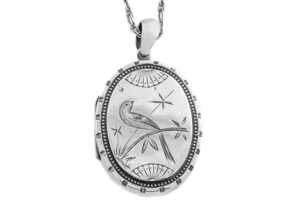 Charming Japanese Bird Antique Silver Locket with Silver Rope Chain