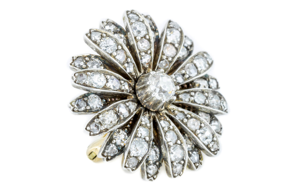 Victorian Diamond Flower Brooch 1.25ct