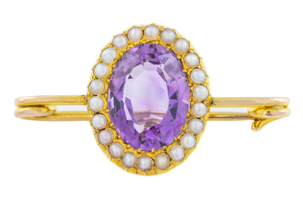 Antique 15ct Gold Amethyst and Pearl Brooch