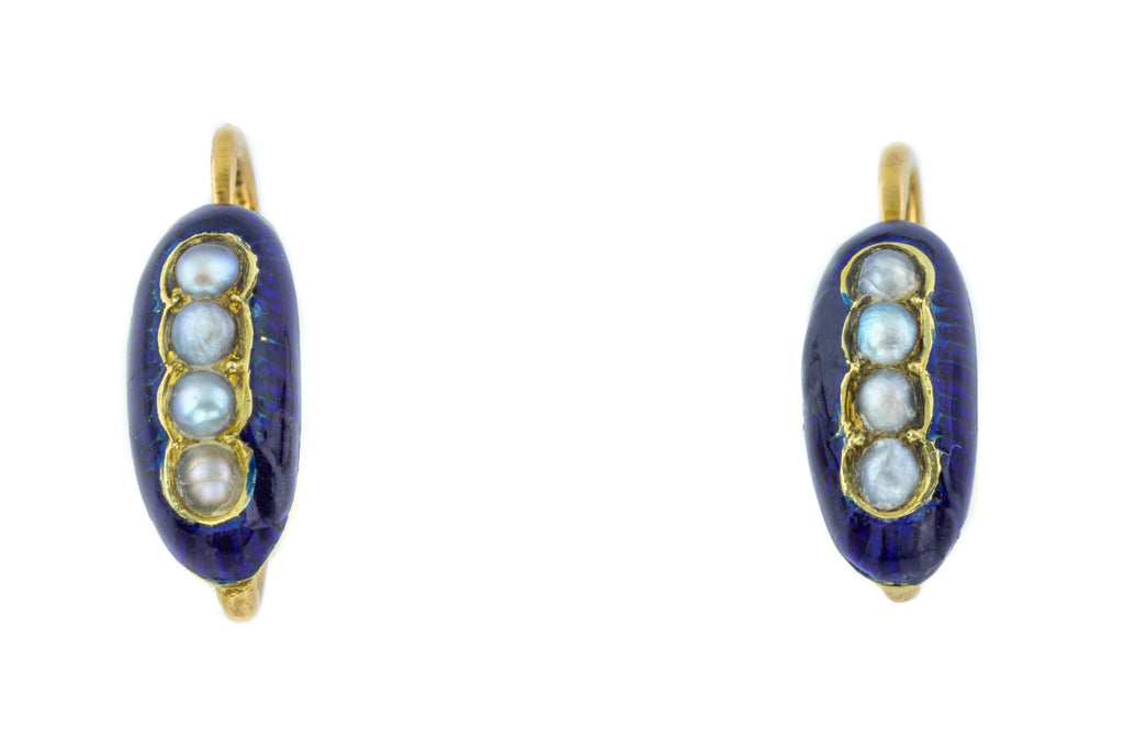 18ct Gold French Antique Blue Enamel Pearl Earrings c.1840