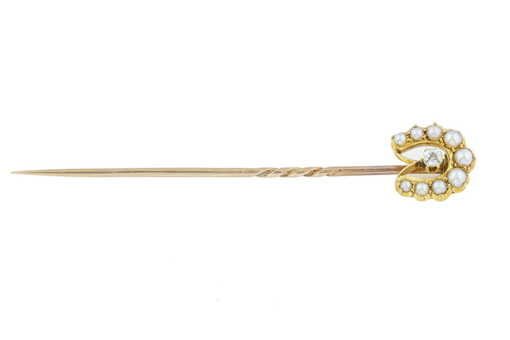 Edwardian Pearl Lucky Horseshoe Diamond Stick Pin