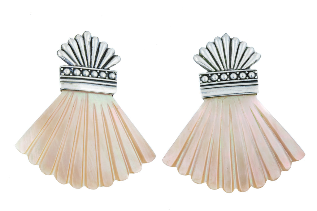 Rare Art Deco Mother Of Pearl Fan Earrings